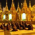 写真: 僧達の祈り Worshipping Monks at Shwedagon Paya