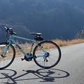 写真: 天竜川の堤防に自転車で
