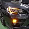 写真: WRX STI VAB ヘッドライト加工 NEWアウディ風LED取付 オレンジ