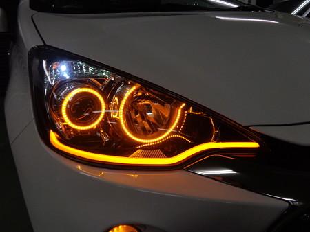 トヨタAQUA 東京都 ヘッドライト加工 オレンジ右