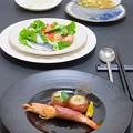 写真: 2月5日の晩御飯今晩は、天使の海老と帆立の生ハム巻きソテー、ピクルスと生野菜のサラダ、イワシの自家製オイルサーディン風、角切り野菜とポルチーニのスープ、ライス