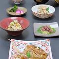写真: 今晩は、鯛のかぶと煮、蛍烏賊の酢味噌和え、うの花五目煮、里芋と鯛の子、あやめかぶらの漬物、沢煮椀、鯛めし
