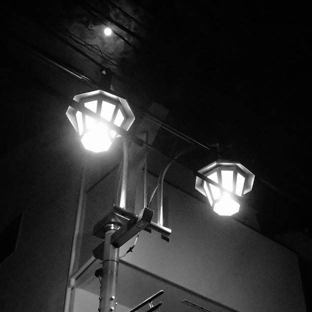 月と常夜灯