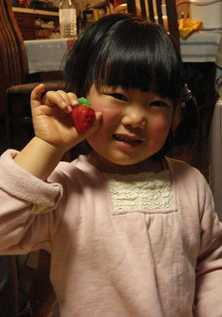 真っ赤なほっぺとイチゴ