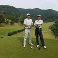 写真: 足利城ゴルフ倶楽部9番ホールで達さんと