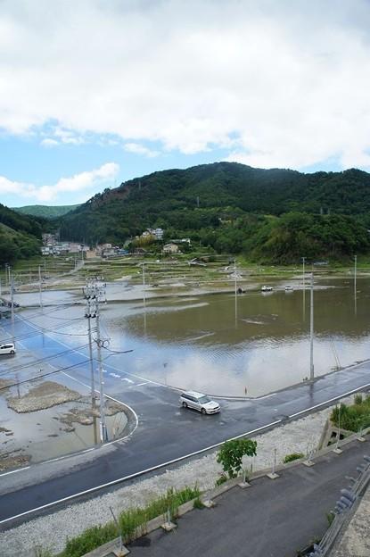 台風で浸水した女川町中心部(震災による地盤沈下)_120620_05