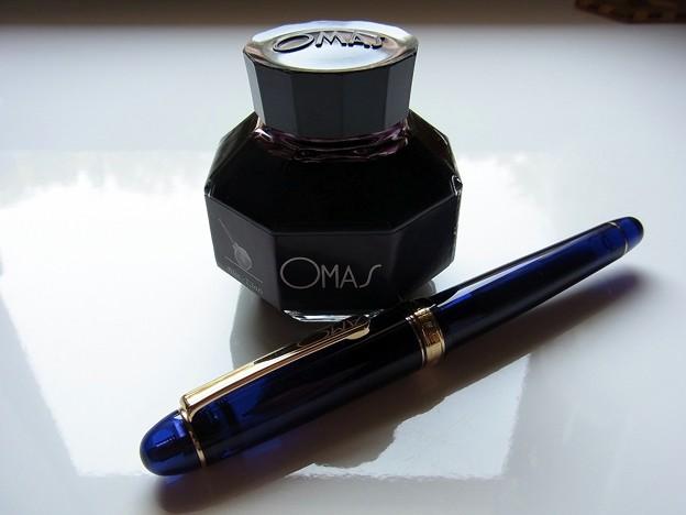 OMAS Black ink & Platinum #3776 Century ChartreBlue