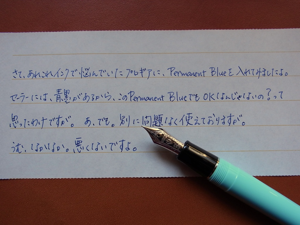 Sailor Professional Gear (Morita Fountain Pen Shop Original) + Montblanc Permanent Blue