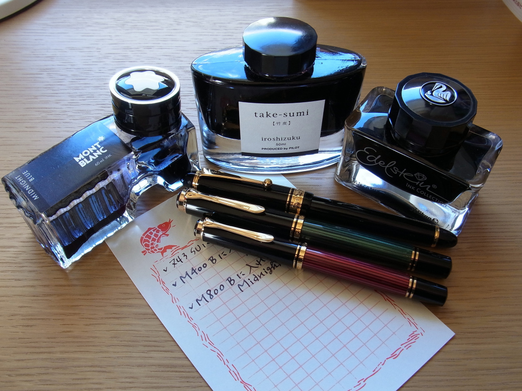 Custom 743 (SU) & M800 (B) & M400 (B) & take-sumi & Midnight Blue & Tanzanite & Masuya Manuscript Paper