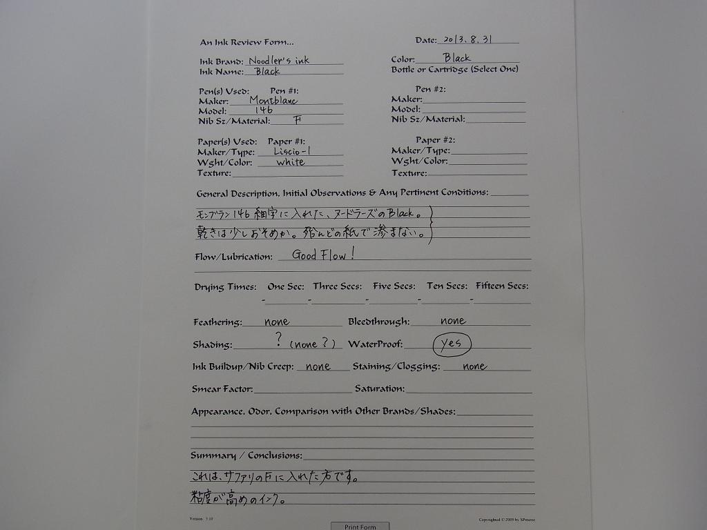 Noodler's Ink Black & Montblanc 146 handwriting