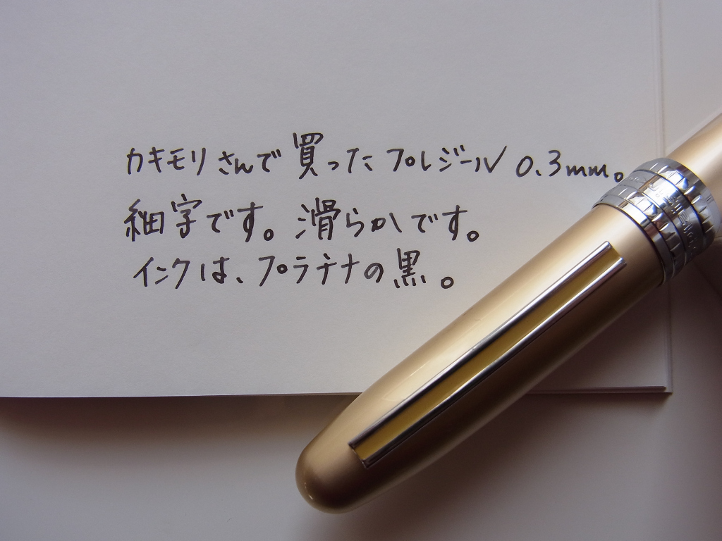 I scribble on paper of Traveller's Note in Platinum Plaisir FP which I bought in Kakimori