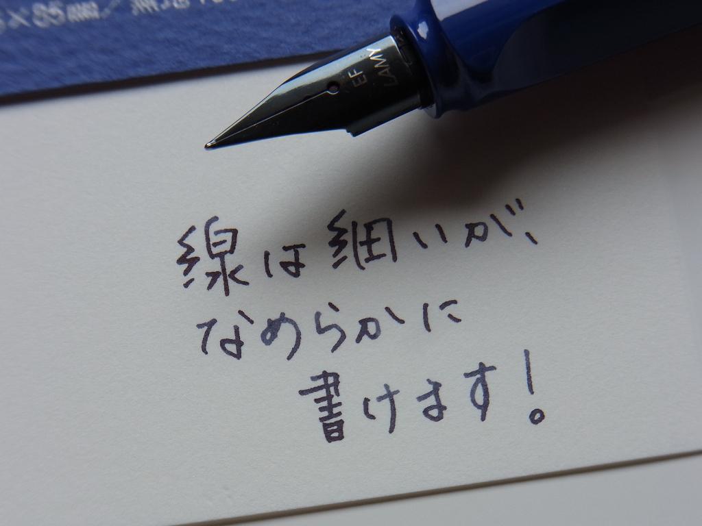 サファリ EF (金ペン堂で購入)にミッドナイト・ブルーを入れて落書き