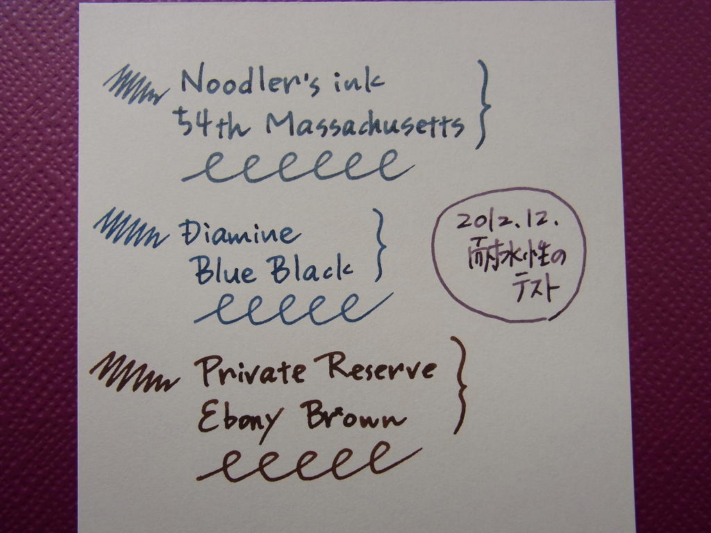 54th Massachusetts & Diamine Blue-Black (New) & Ebony Brown Waterproofing examination (Before)