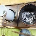 ちょうど炭も燃え尽きたところ