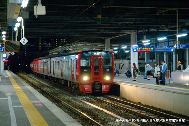 夜の久留米駅。