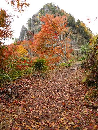一目八景(33)落ち葉と観音岩