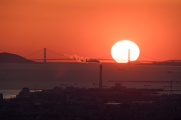 大阪湾の日没