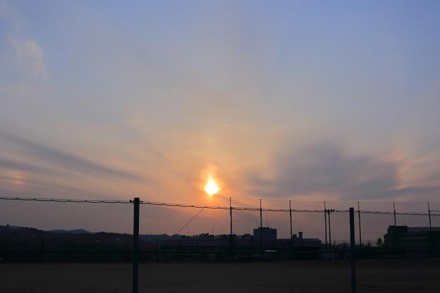夕日と幻日