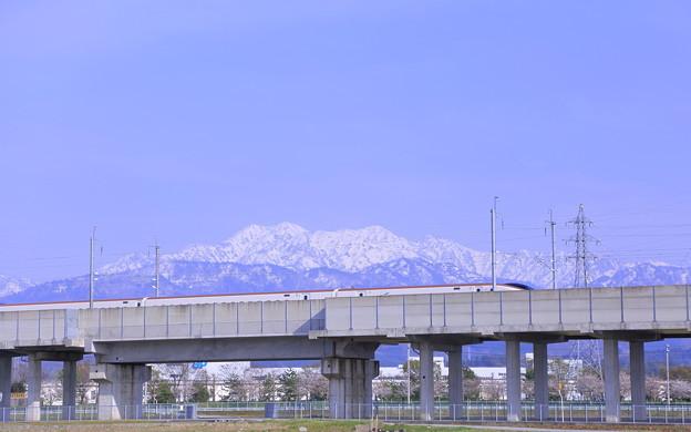 立山連峰と北陸新幹線