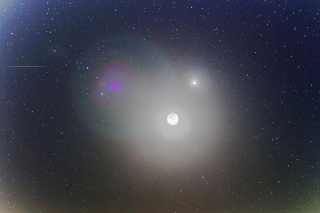 カタリナ彗星と流星と暁月と金星