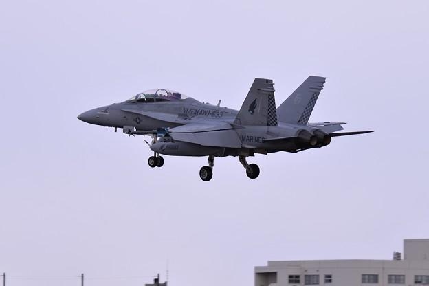 ローカルを実施して厚木基地へ VMFA(AW)-533hawks ED11 F/A-18Dホーネット ランディング・・20150117