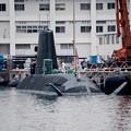 静かに停泊中そうりゅう型潜水艦。。横須賀基地 10月1日