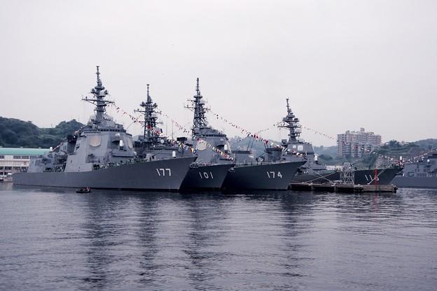 横須賀基地吉倉桟橋の艦船。。やっぱりここから角度がカッコいい。。10月10日
