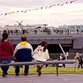 親子で眺めて。。護衛艦いずも。。観艦式前の一般公開10月11日