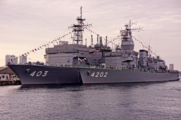 夕暮れの横浜新港埠頭で観艦式前の一般公開 潜水艦救難艦ちはやと訓練支援艦くろべ。。10月11日