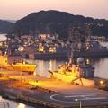 日も暮れて。。ライトアップされて横須賀基地。。10月18日