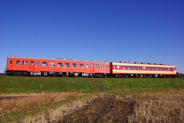 Photos: いすみ鉄道の特別急行。。キハ52とキハ28。。青空の下を走る。。撮って出し12月20日