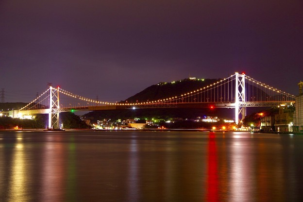 Photos: 夜の関門海峡と関門海峡大橋ライトアップ。。20151121