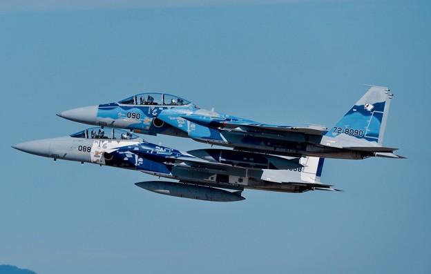 写真: 新田原基地の最後の飛行教導群アグレッサーF-15 フォーメーションテイクオフ。。