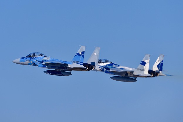 Photos: 新田原基地航空祭予行。。飛行教導群アグレッサーの色付きF-15イーグル。。