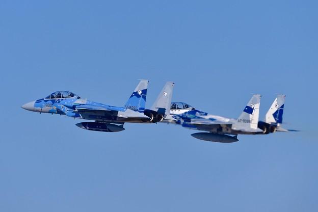 写真: 新田原基地航空祭予行。。飛行教導群アグレッサーの色付きF-15イーグル。。