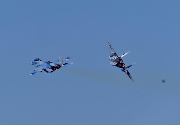 写真: 新田原基地航空祭予行。。アグレッサーの機動飛行。。タッグディパーチャー