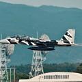 写真: 新田原基地航空祭予行。。新色の白黒ゼブラの飛行教導群アグレッサーF-15。。テイクオフ機動飛行へ。。