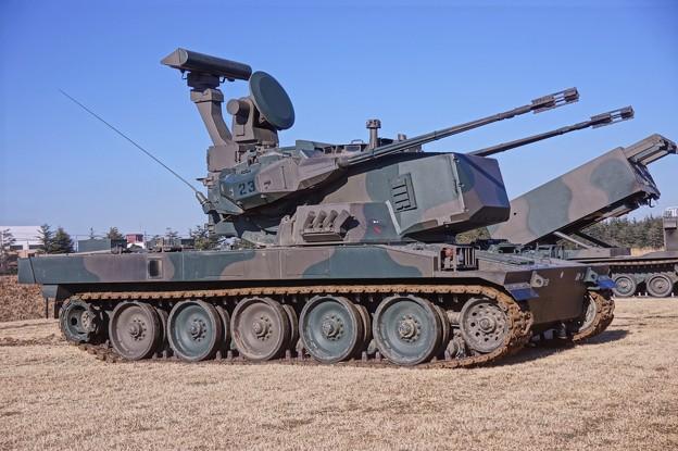 87式自走高射機関砲。。通称スカイシューター 習志野駐屯地。。20160110