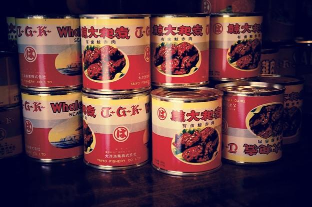 昔は庶民な缶詰め。。マルハの鯨の缶詰め。。江戸東京たてもの園 20160313