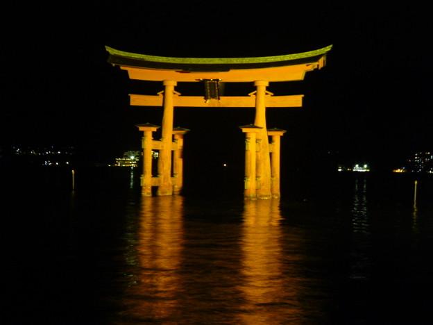大鳥居のライトアップ@厳島神社