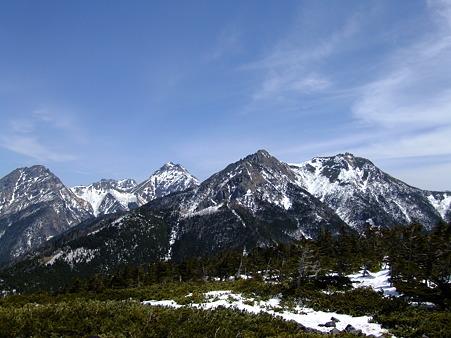 右から権現岳、ギボシ、赤岳、阿弥陀岳